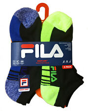 Fila Boy's No-Show Socks with Swift Dry Size 9-11 in Black with Neon Colors