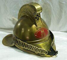 Antico elmo da pompiere in ottone collezione vigili del fuoco parata militare di
