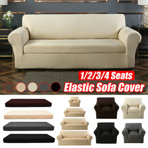 2-piece Set Elastic Stretch Sofa Armchair Cover Solid Color Living Room Couch