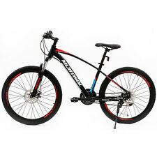 """27.5"""" Red Aluminum Mountain Bike 21 Speeds Disc Brakes Front Suspension Bicycle"""