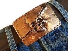 Skull calavera cobre Biker Rockstar adorno en la cintura de cambio hebilla Buckle 4cm