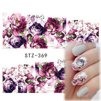 Nail Art Water Decals Stickers Transfers Deep Purple Flowers Gel Polish (369)
