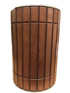 "Vintage Walnut Wood ""Gruvwood"" Danish Modern Wastebasket Trash Can  MCM"