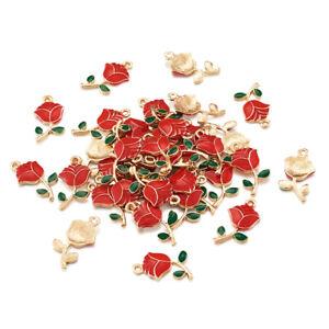 100pc Alloy Enamel Pendants Red Flower Mini Charm Craft Jewelry Making 23.5x12mm