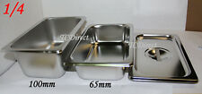 Stainless Steel Bain Marie Tray Pan GN 1/4 65mm deep for Gastronorm