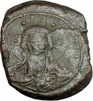 JESUS CHRIST Class B Anonymous Ancient 1028AD Byzantine Follis Coin CROSS i41769
