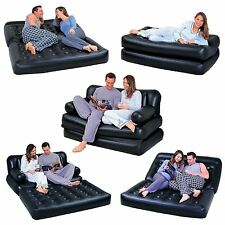 NEW 5 IN 1 DOUBLE BLACK INFLATABLE AIR SOFA CHAIR COUCH LOUNGER BED MATTRESS