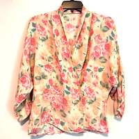 New Look Green Floral Print Jacquard Double Breasted Shirt Uk 12