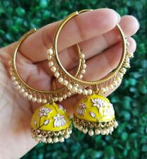 Bollywood Enameled Kundan Yellow Enameled jhumkas Earrings Women Bridal Jewelry