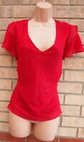 BHS RED SPOTTY GLITTER SPARKLY V NECK SHORT SLEEVE XMAS PARTY TOP BLOUSE 18