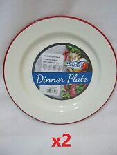 2 x Nimbus Enamel 20cm Plates - Cream With Red Trim - Camping or Home  [0036]