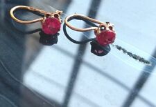 Russian Vintage Rose Gold Little Earring With Ruby Stones 14k 583 USSR