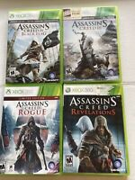 Assassins Creed 3,Rouge,Revelations, Black Flag Games  Lot XBOX 360 Bundle