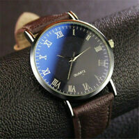 Fashion Men's Watch Luxury Leather Quartz Analog Business Casual Wrist Watches