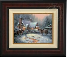 Thomas Kinkade Christmas Welcome 12 x 16 LE S/N Canvas (Burl Frame)