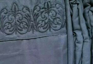 Spirit Linen Home Soft Queen 6 Piece Sheet Set Black Fluer de Lis