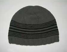 handmade eco-friendly gray cotton men's beanie with black stripes