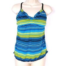Nike Women's Tankini Swimsuit Top Size 6 Blue Lime Green Striped