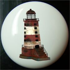 LIGHTHOUSE WEATHERED RED & WHITE NAUTICAL DECORATIVE  DRAWER AND CABINET KNOBS