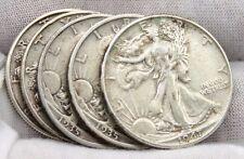 LOTS OF 5 Walking Liberty Silver Half Dollar Coin.2-1935,1938,1939,1947