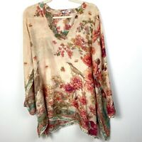 Johnny Was 100% Silk Tunic Floral Print Long Sleeve Blouse  V-Neck Size Medium
