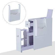 HOMCOM Narrow Wood Floor Bathroom Storage Cabinet Holder Organizer Bath Toilet