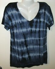 NEW MATHEW TRYST TOP L BOHO CHIC STRETCH TIE DYE BLUE NAVY SHORT SLEEVE GORGEOUS