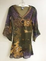 Women's Printed Embellished Polyester Missy Size Tunic Top Blouse S-M-L-XL NWT