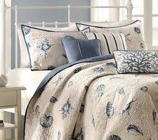 Seashore Quilt Set Full Queen Size Ecru Blue 6 Pc Bedding Coverlet Shams Pillows