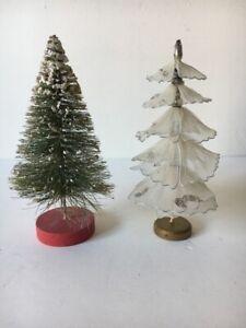 """2 vtg (1) bottle brush green tree and (1) white frabic wire glitter 6"""""""