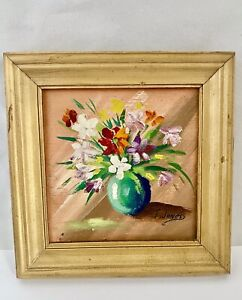 Vintage FRAMED MINIATURE PAINTING FLOWERS IN VASE Bright Colors ARTIST SIGNED