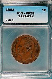 1863 ICG VF25 Sarawak KM#3 One Cent!! #B5095*