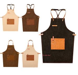 Leather Strap Bib Denim Apron Barista Baker Bartender BBQ Chef Work Uniform NEW