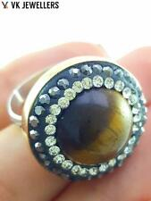 Turkish Ottoman 925 Sterling Silver Jewelry Tiger Eye Adjustable Ring R2691