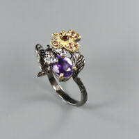 Natural Amethyst 925 Sterling Silver Ring Size 8/RR17-1439