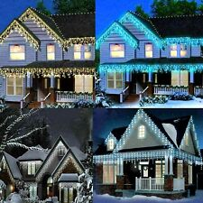 Icicle Lights Outdoor Christmas Battery Operat Xmas LED Snow Effect Outside Roof