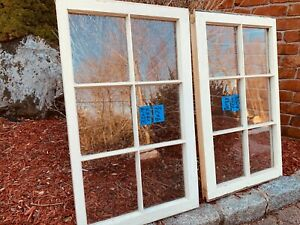 2 - 32 x 19 Vintage Window sash old 6 pane From 1950s Arts & Crafts