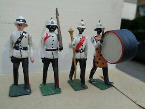 Britains Set 2186 Bahama Police Band lot of 4, repainted lead soldier, JL
