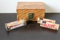 RAW Maple Wood Rolling Paper Storage Box w RAW Roller & RAW PAPERS + FREE GIFT