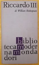 LIBRO WILLIAM SHAKESPEARE - RICCARDO III - BIBLIOTECA MODERNA MONDADORI 1964