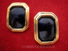 """Boucles d'oreille """"Rectangle"""" émaillé N° 5 Bleu 70's - Bijoux Vintage Sphinx"""