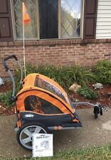 InStep Quick-N-Ez 10 Orange Double Bike Trailer Tow Behind & Stroller Jogger