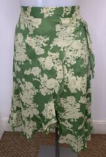 BANANA REPUBLIC • Green Floral Faux Wrap Lined Cotton Skirt • Size 14