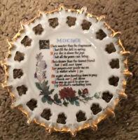 Vintage Mother's Decorative Plate Floral Gold Rim