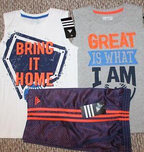 New! Boys Adidas Summer 3 pc Outfit/Lot (2 Shirts, Shorts; Baseball) - Size 6, 7