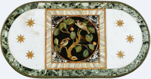 4'x2' White Marble Dining Table Top Pietra Dura Inlay Handmade Floral Art W443