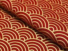 Japanese Fabric_Cotton_Red,Gold,Seigaiha_Half Yard,#m036