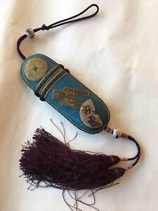 Antique chinese silk embroidery Eye Glasses Case with Glasses