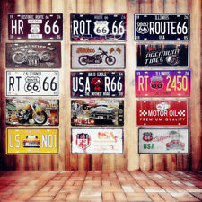 Vintage Metal Tin Signs Route 66 Car Number License Plate 15*30cm home decor
