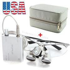 Dental Loupes 3.5X 420mm Surgical Medical Binocular LED Head Light Lamp Case Bag